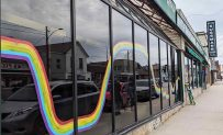 Rainbow connecting downtown businesses in Arthur, ON