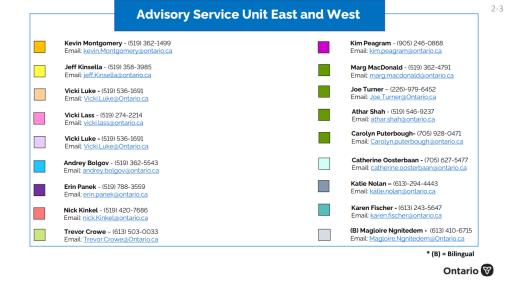 South Advisory List